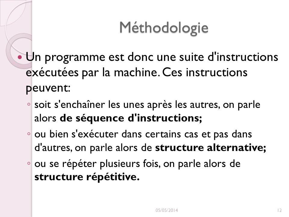 Méthodologie Un programme est donc une suite d'instructions exécutées par la machine. Ces instructions peuvent: soit s'enchaîner les unes après les au