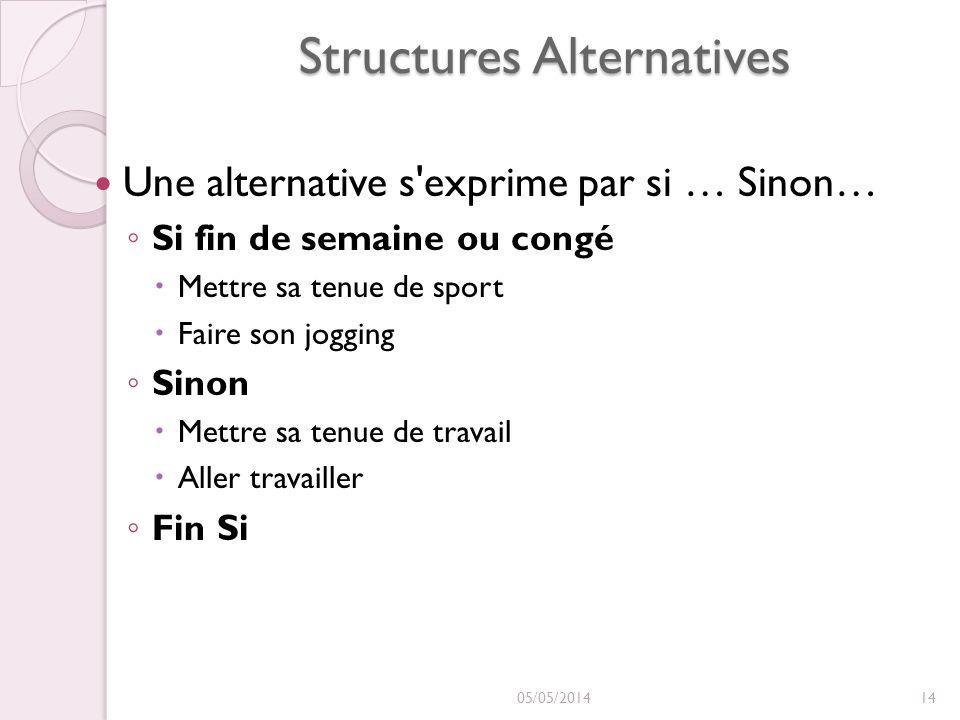 Structures Alternatives Une alternative s'exprime par si … Sinon… Si fin de semaine ou congé Mettre sa tenue de sport Faire son jogging Sinon Mettre s