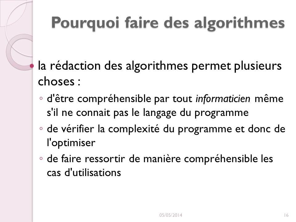 Pourquoi faire des algorithmes la rédaction des algorithmes permet plusieurs choses : d être compréhensible par tout informaticien même s il ne connait pas le langage du programme de vérifier la complexité du programme et donc de l optimiser de faire ressortir de manière compréhensible les cas d utilisations 05/05/201416