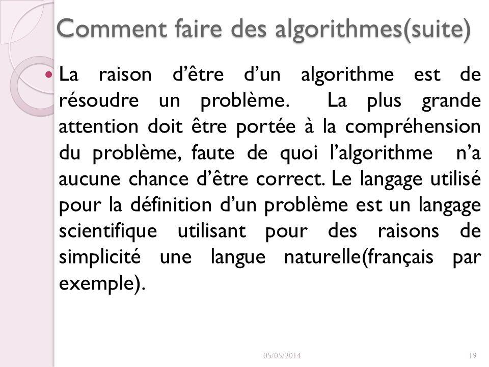 Comment faire des algorithmes(suite) La raison dêtre dun algorithme est de résoudre un problème. La plus grande attention doit être portée à la compré