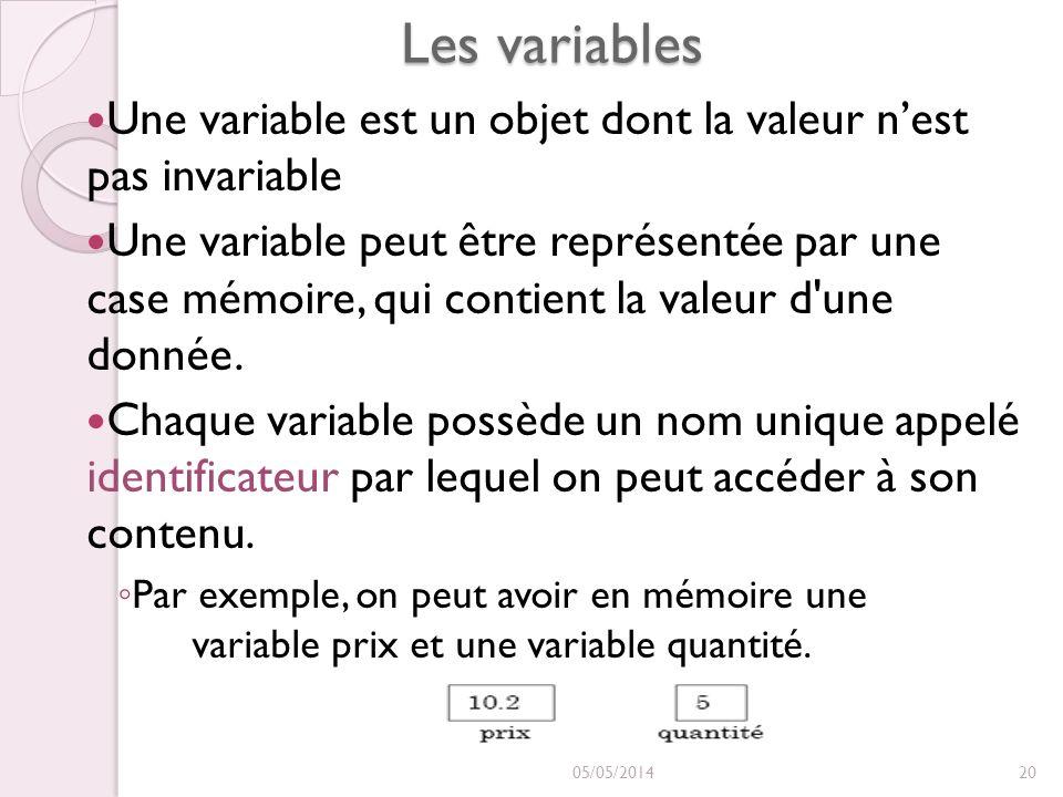 Les variables Une variable est un objet dont la valeur nest pas invariable Une variable peut être représentée par une case mémoire, qui contient la va