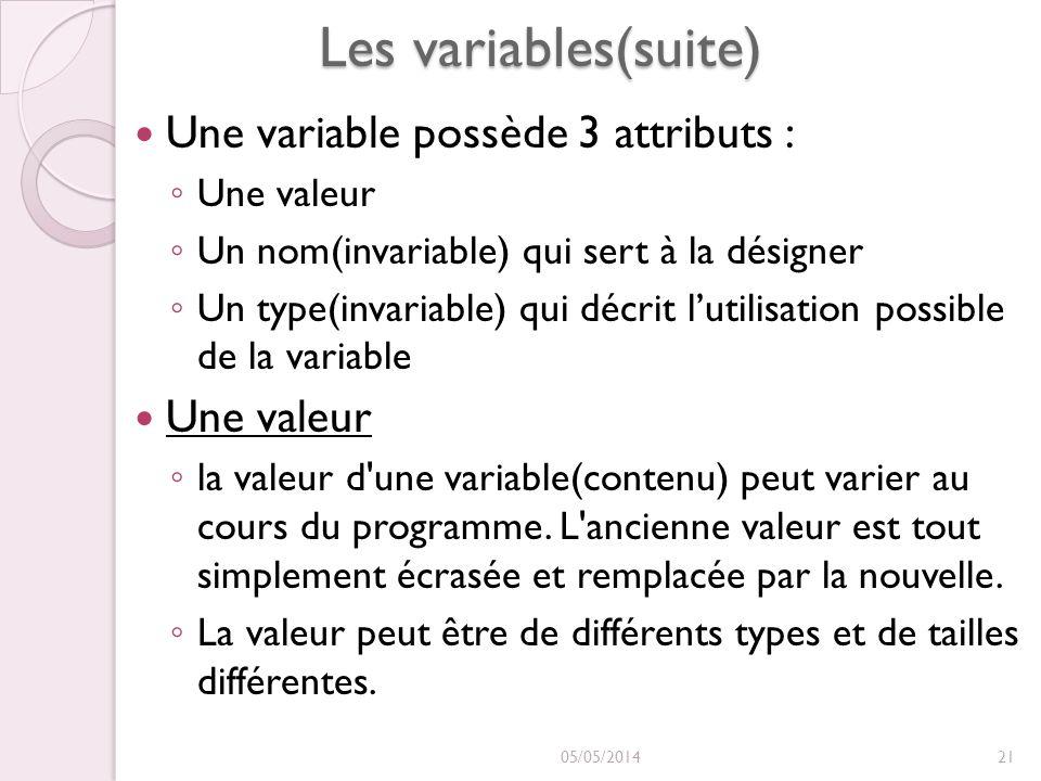Les variables(suite) Une variable possède 3 attributs : Une valeur Un nom(invariable) qui sert à la désigner Un type(invariable) qui décrit lutilisation possible de la variable Une valeur Une valeur la valeur d une variable(contenu) peut varier au cours du programme.