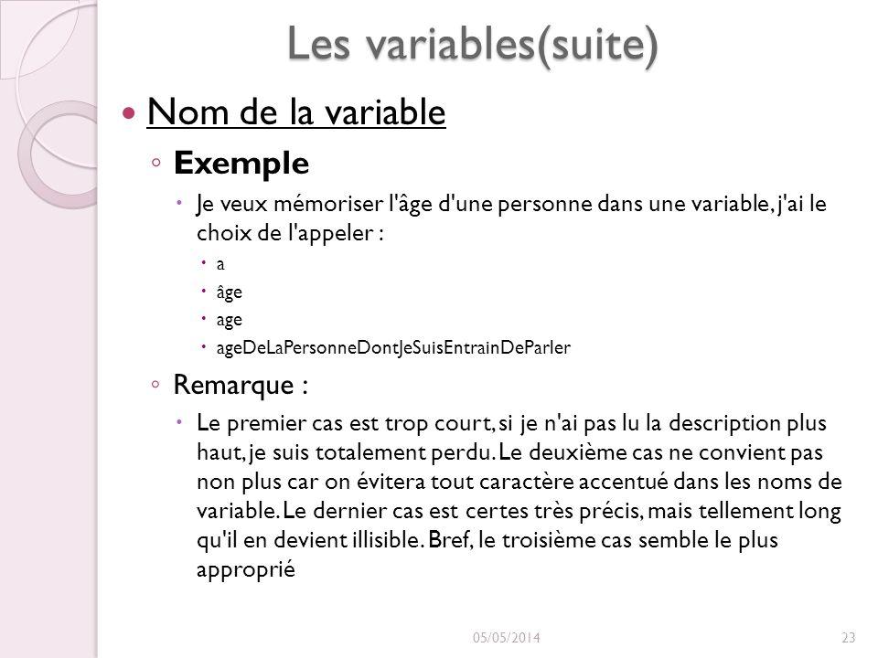 Les variables(suite) Nom de la variable Nom de la variable Exemple Je veux mémoriser l âge d une personne dans une variable, j ai le choix de l appeler : a âge age ageDeLaPersonneDontJeSuisEntrainDeParler Remarque : Le premier cas est trop court, si je n ai pas lu la description plus haut, je suis totalement perdu.