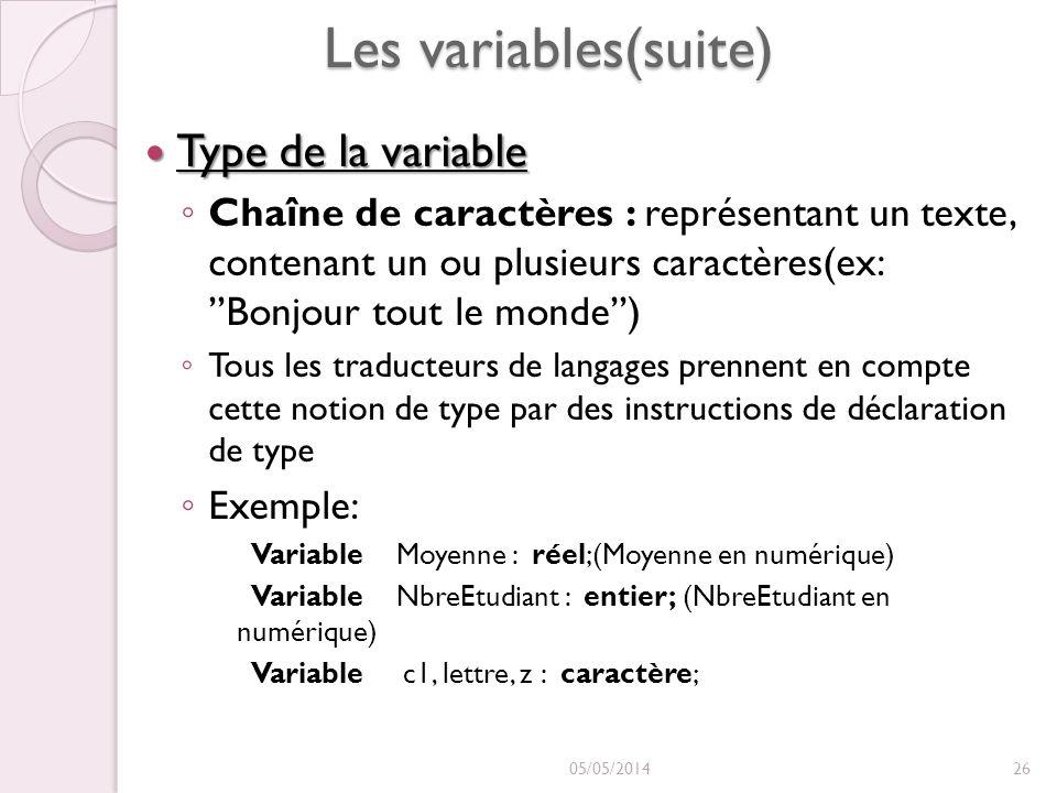 Les variables(suite) Type de la variable Type de la variable Chaîne de caractères : représentant un texte, contenant un ou plusieurs caractères(ex: Bonjour tout le monde) Tous les traducteurs de langages prennent en compte cette notion de type par des instructions de déclaration de type Exemple: Variable Moyenne : réel;(Moyenne en numérique) Variable NbreEtudiant : entier; (NbreEtudiant en numérique) Variable c1, lettre, z : caractère; 05/05/201426