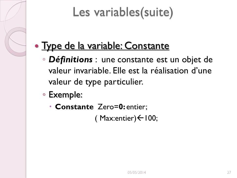 Les variables(suite) Type de la variable: Constante Type de la variable: Constante Définitions : une constante est un objet de valeur invariable.