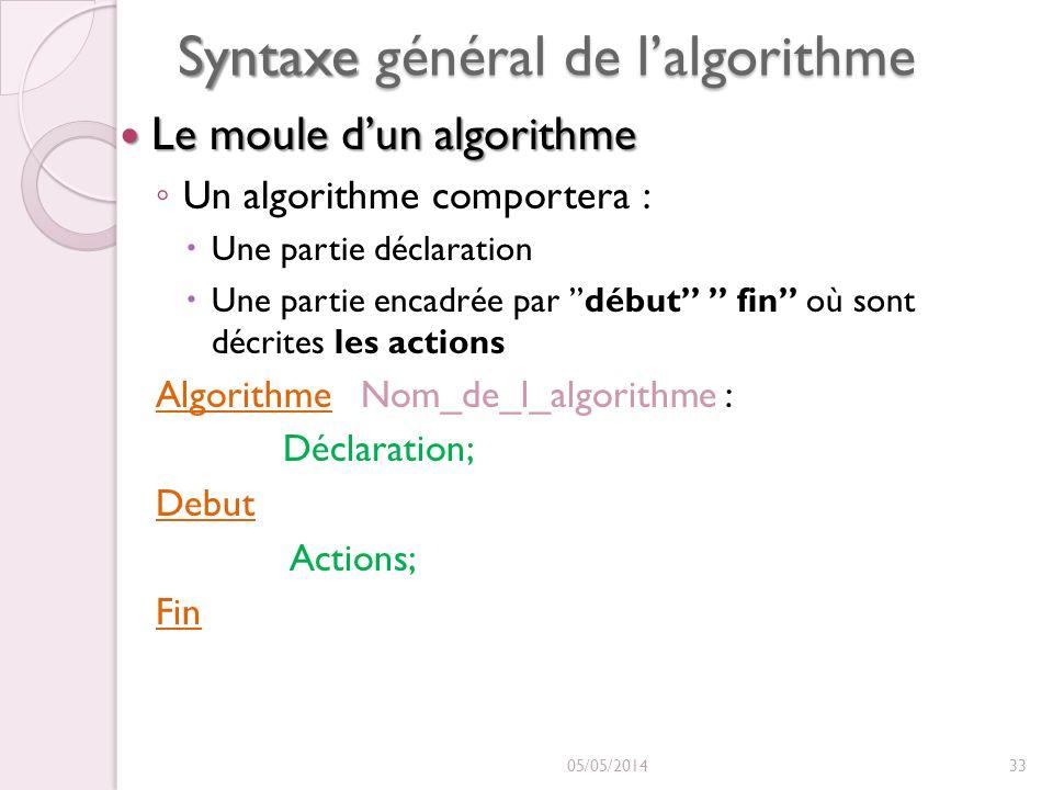 Syntaxe général de lalgorithme Le moule dun algorithme Le moule dun algorithme Un algorithme comportera : Une partie déclaration Une partie encadrée par début fin où sont décrites les actions Algorithme Nom_de_l_algorithme : Déclaration; Debut Actions; Fin 05/05/201433