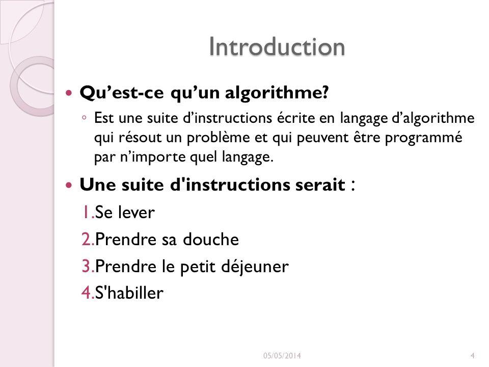 Introduction Quest-ce quun algorithme? Est une suite dinstructions écrite en langage dalgorithme qui résout un problème et qui peuvent être programmé