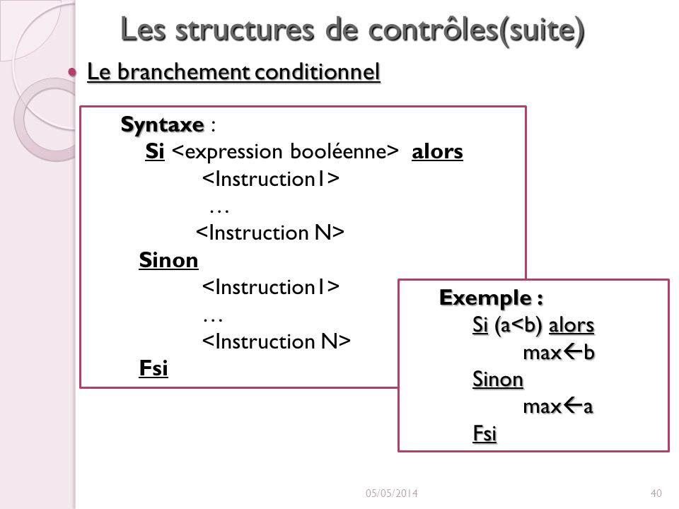 Les structures de contrôles(suite) Le branchement conditionnel Le branchement conditionnel 05/05/201440 Syntaxe Syntaxe : Si alors … Sinon … Fsi Exemple : Si (a<b) alors max b max bSinon max a max aFsi