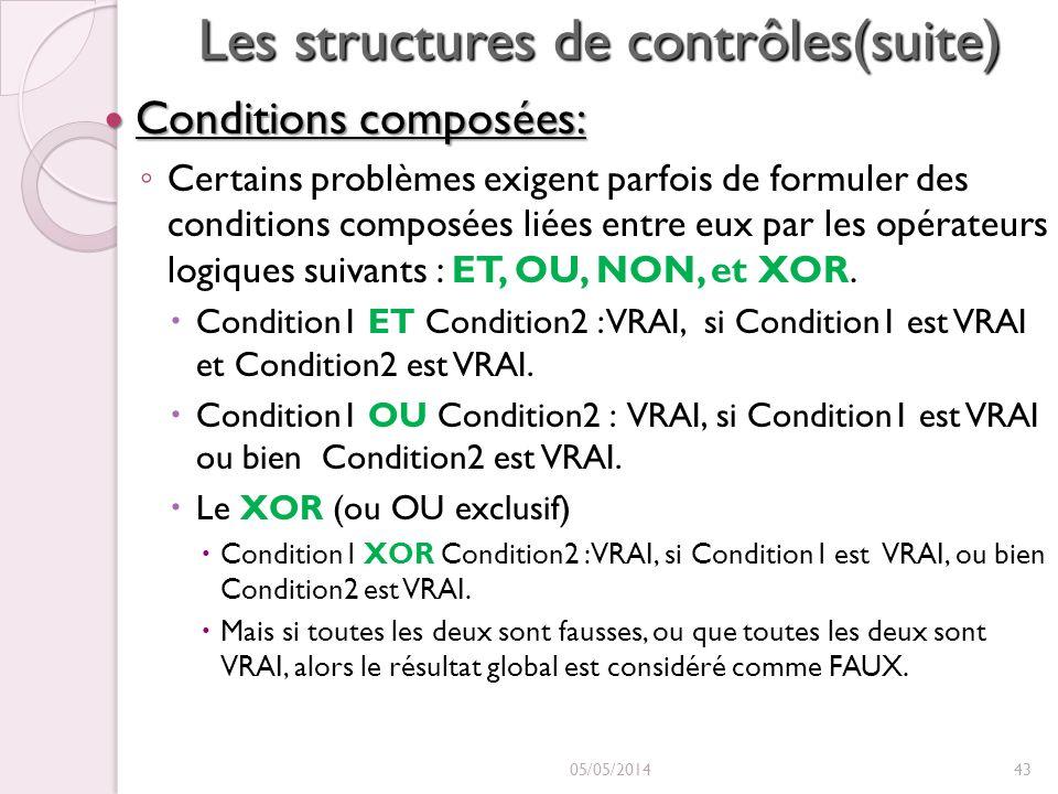 Les structures de contrôles(suite) Conditions composées: Conditions composées: Certains problèmes exigent parfois de formuler des conditions composées liées entre eux par les opérateurs logiques suivants : ET, OU, NON, et XOR.