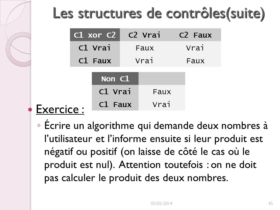 Les structures de contrôles(suite) Exercice : Écrire un algorithme qui demande deux nombres à lutilisateur et linforme ensuite si leur produit est négatif ou positif (on laisse de côté le cas où le produit est nul).