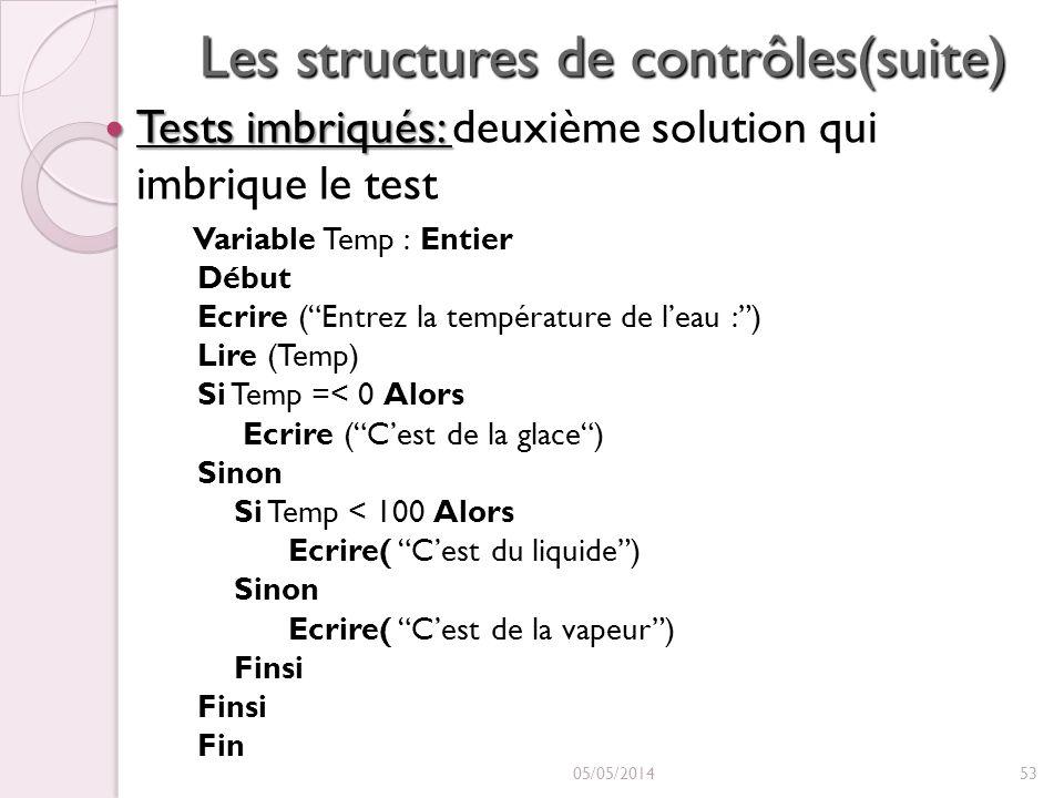 Les structures de contrôles(suite) Tests imbriqués: Tests imbriqués: deuxième solution qui imbrique le test Variable Temp : Entier Début Ecrire (Entrez la température de leau :) Lire (Temp) Si Temp =< 0 Alors Ecrire (Cest de la glace) Sinon Si Temp < 100 Alors Ecrire( Cest du liquide) Sinon Ecrire( Cest de la vapeur) Finsi Finsi Fin 05/05/201453