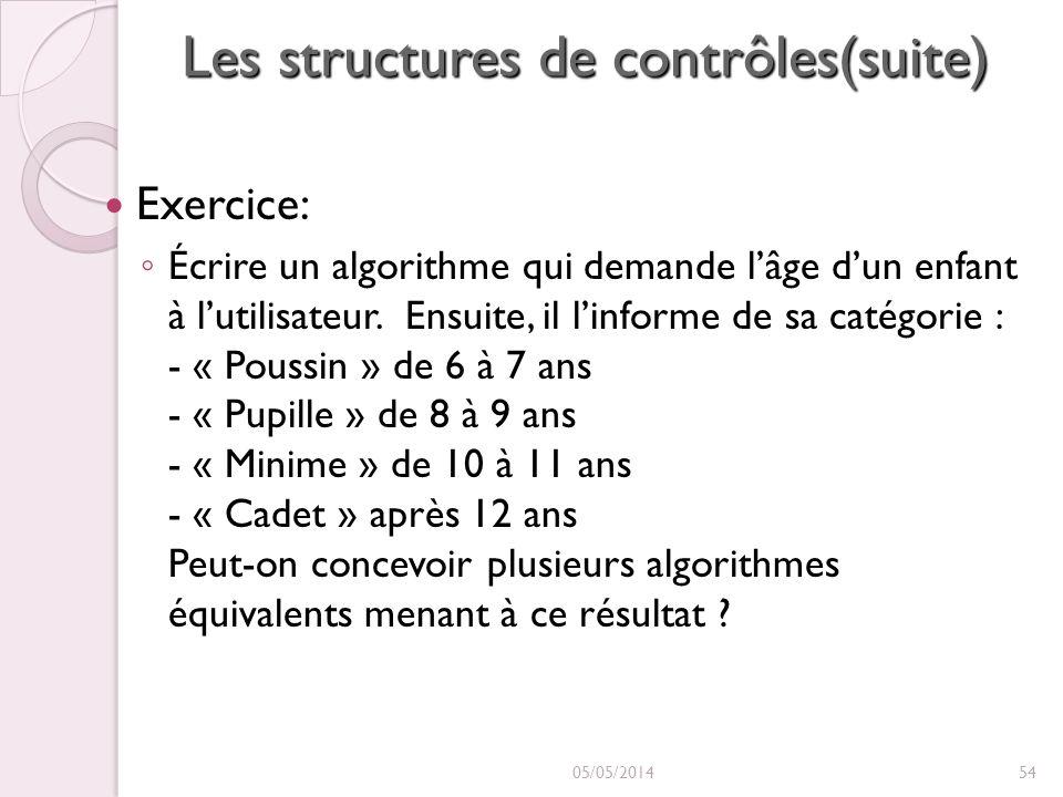 Les structures de contrôles(suite) Exercice: Écrire un algorithme qui demande lâge dun enfant à lutilisateur. Ensuite, il linforme de sa catégorie : -