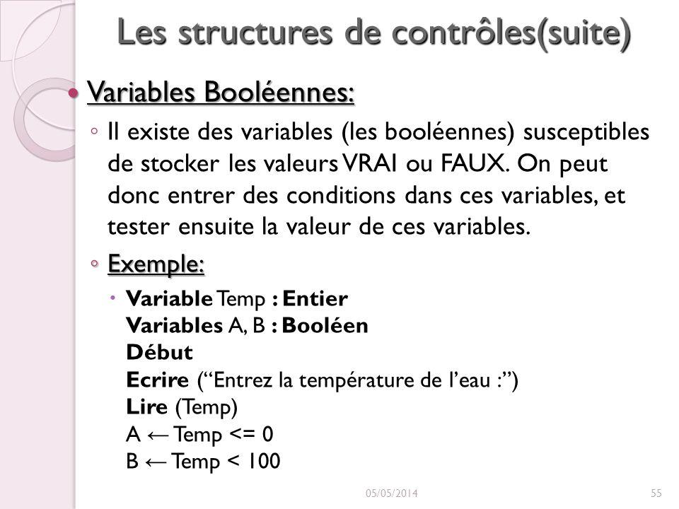 Les structures de contrôles(suite) Variables Booléennes: Variables Booléennes: Il existe des variables (les booléennes) susceptibles de stocker les valeurs VRAI ou FAUX.