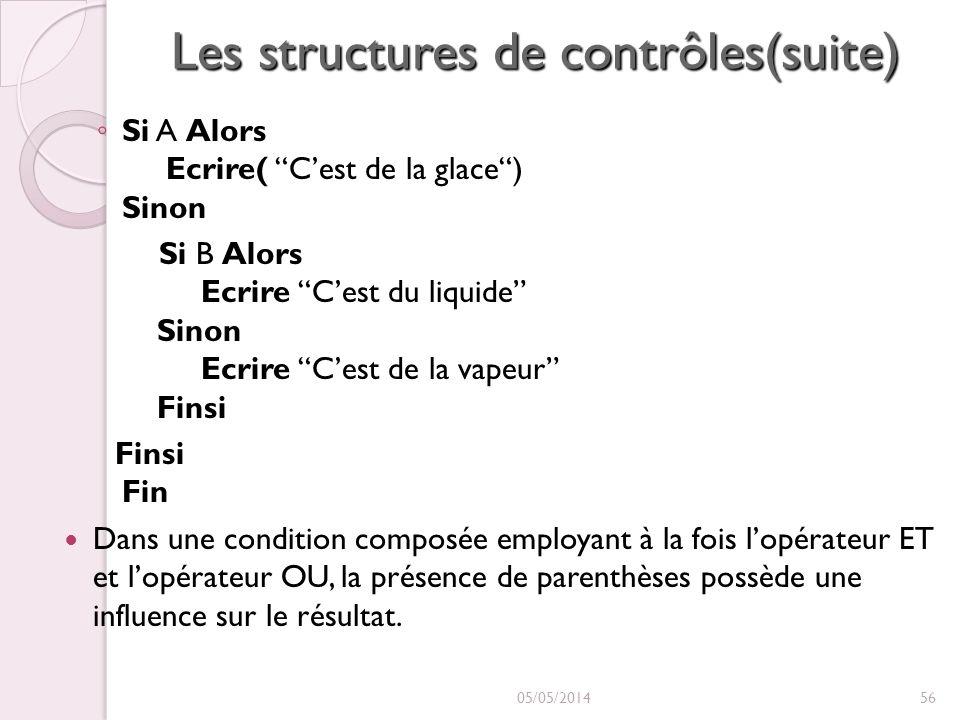 Les structures de contrôles(suite) Si A Alors Ecrire( Cest de la glace) Sinon Si B Alors Ecrire Cest du liquide Sinon Ecrire Cest de la vapeur Finsi F