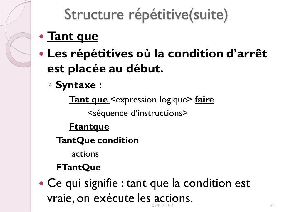 Structure répétitive(suite) Tant que Tant que Les répétitives où la condition darrêt est placée au début. : Syntaxe : Tant que faire Ftantque TantQue