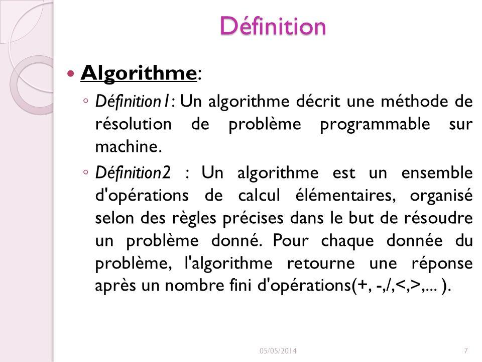 Définition Algorithme: Définition1: Un algorithme décrit une méthode de résolution de problème programmable sur machine. Définition2 : Un algorithme e