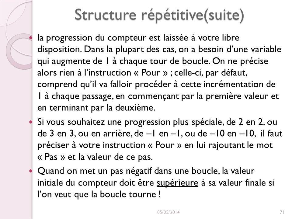Structure répétitive(suite) la progression du compteur est laissée à votre libre disposition. Dans la plupart des cas, on a besoin dune variable qui a