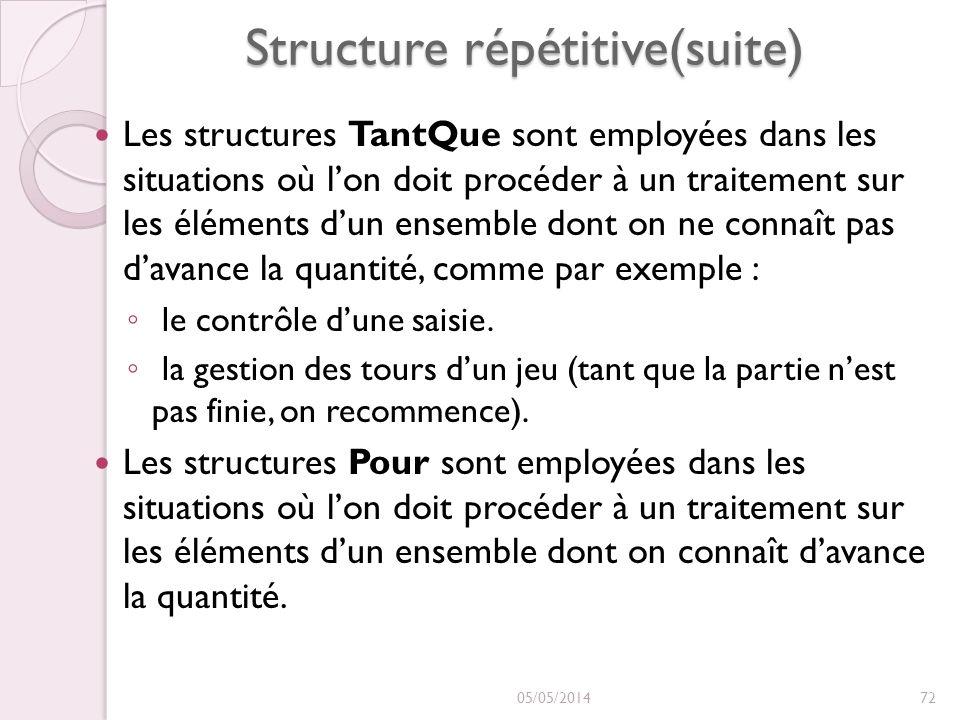 Structure répétitive(suite) Les structures TantQue sont employées dans les situations où lon doit procéder à un traitement sur les éléments dun ensemble dont on ne connaît pas davance la quantité, comme par exemple : le contrôle dune saisie.