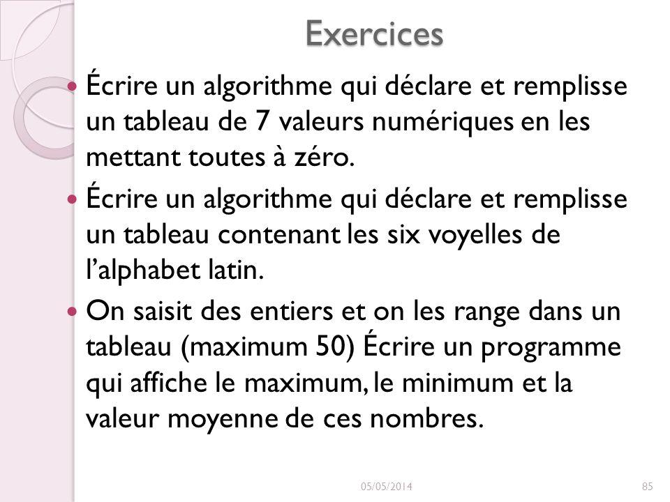 Exercices Écrire un algorithme qui déclare et remplisse un tableau de 7 valeurs numériques en les mettant toutes à zéro. Écrire un algorithme qui décl