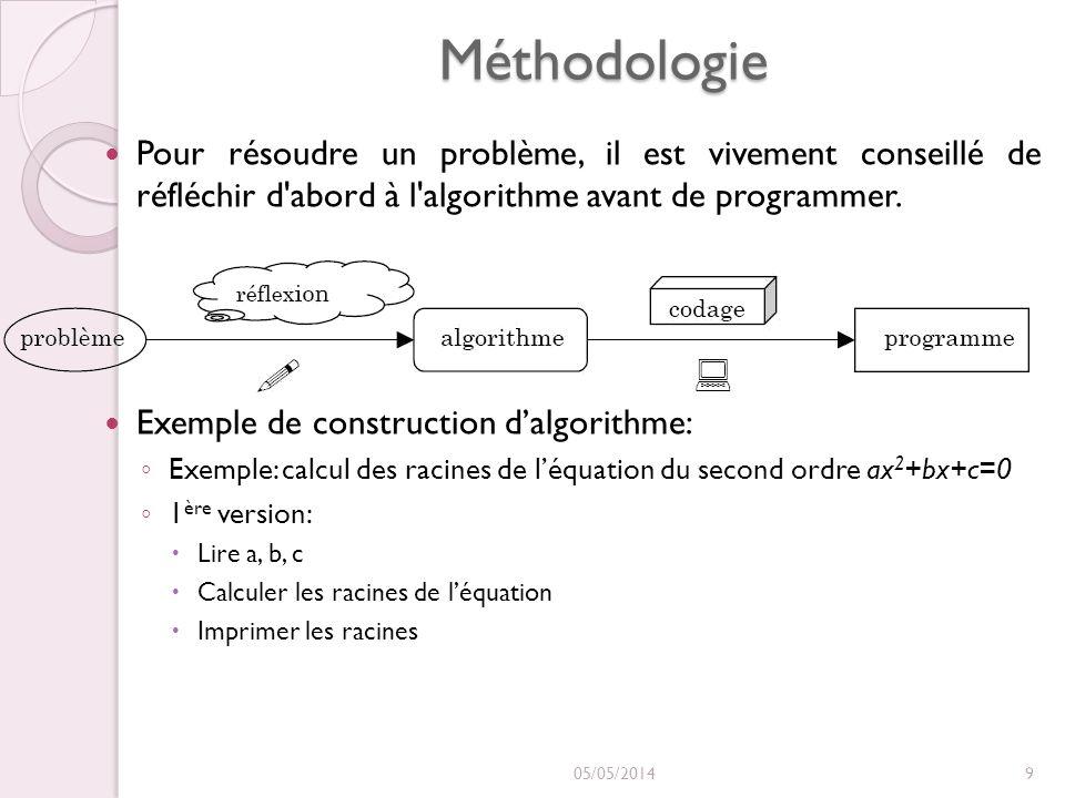 Méthodologie La résolution dun problème est caractérisé par 4 étapes : Comprendre la nature du problème posé Préciser les données fournies (Entrées) Préciser les résultats que lon désire obtenir (Sorties) Déterminer le processus de transformation des données en résultats.