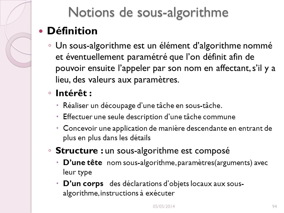 Notions de sous-algorithme Définition Un sous-algorithme est un élément dalgorithme nommé et éventuellement paramétré que lon définit afin de pouvoir ensuite lappeler par son nom en affectant, sil y a lieu, des valeurs aux paramètres.