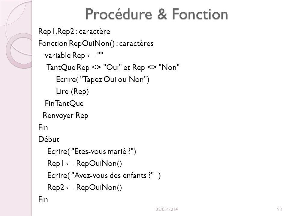 Procédure & Fonction Rep1,Rep2 : caractère Fonction RepOuiNon() : caractères variable Rep