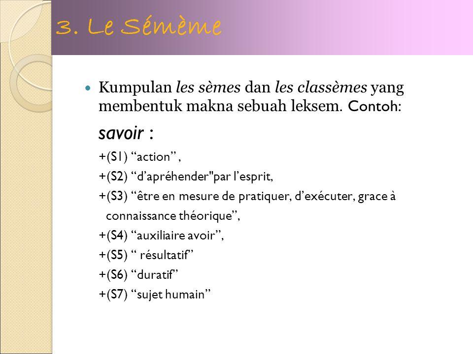Kumpulan les sèmes dan les classèmes yang membentuk makna sebuah leksem.