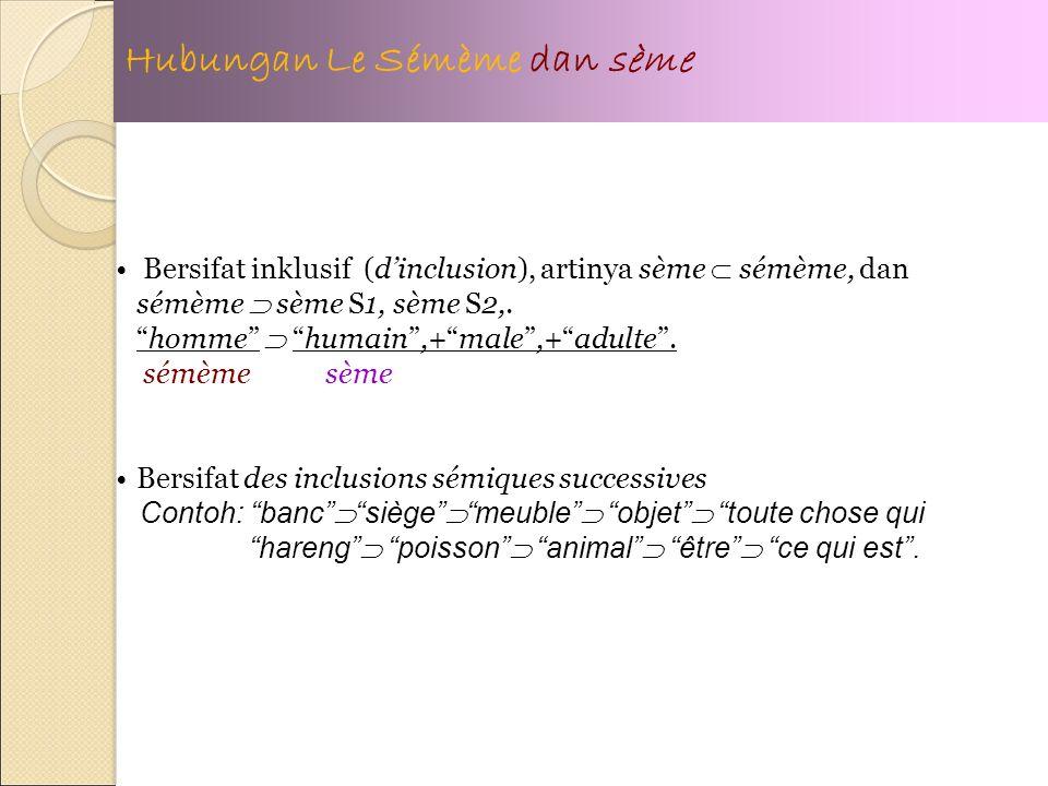 Hubungan Le Sémème dan sème Bersifat inklusif (dinclusion), artinya sème sémème, dan sémème sème S1, sème S2,.