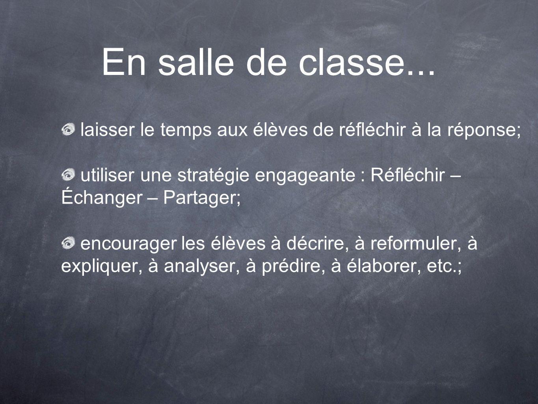 En salle de classe... laisser le temps aux élèves de réfléchir à la réponse; utiliser une stratégie engageante : Réfléchir – Échanger – Partager; enco