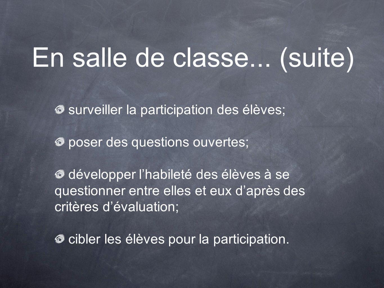 En salle de classe... (suite) surveiller la participation des élèves; poser des questions ouvertes; développer lhabileté des élèves à se questionner e