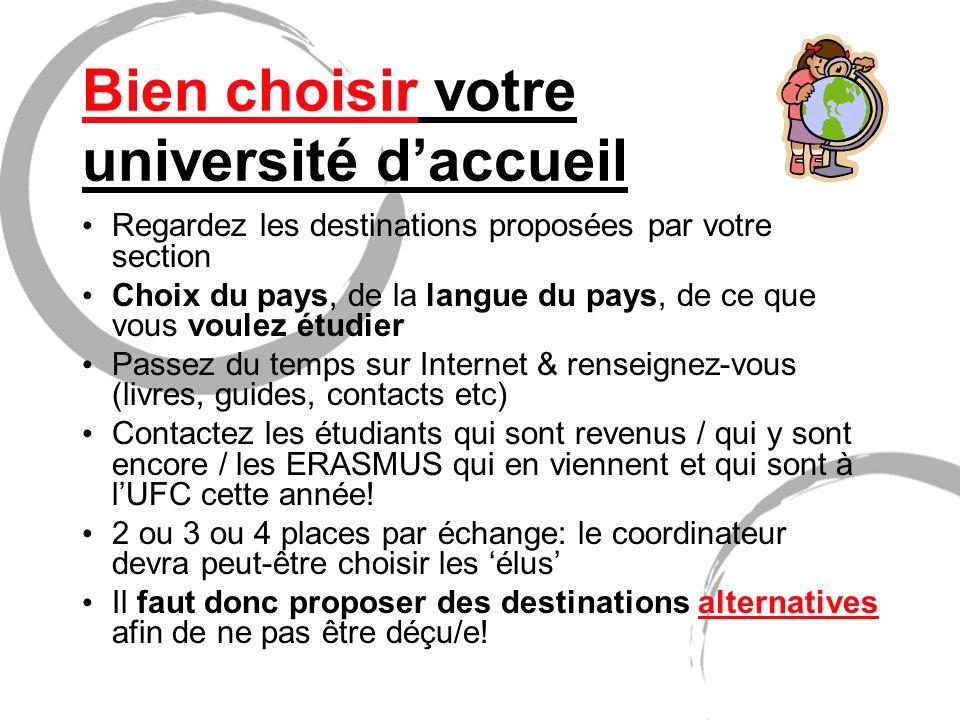Bien choisir votre université daccueil Regardez les destinations proposées par votre section Choix du pays, de la langue du pays, de ce que vous voule