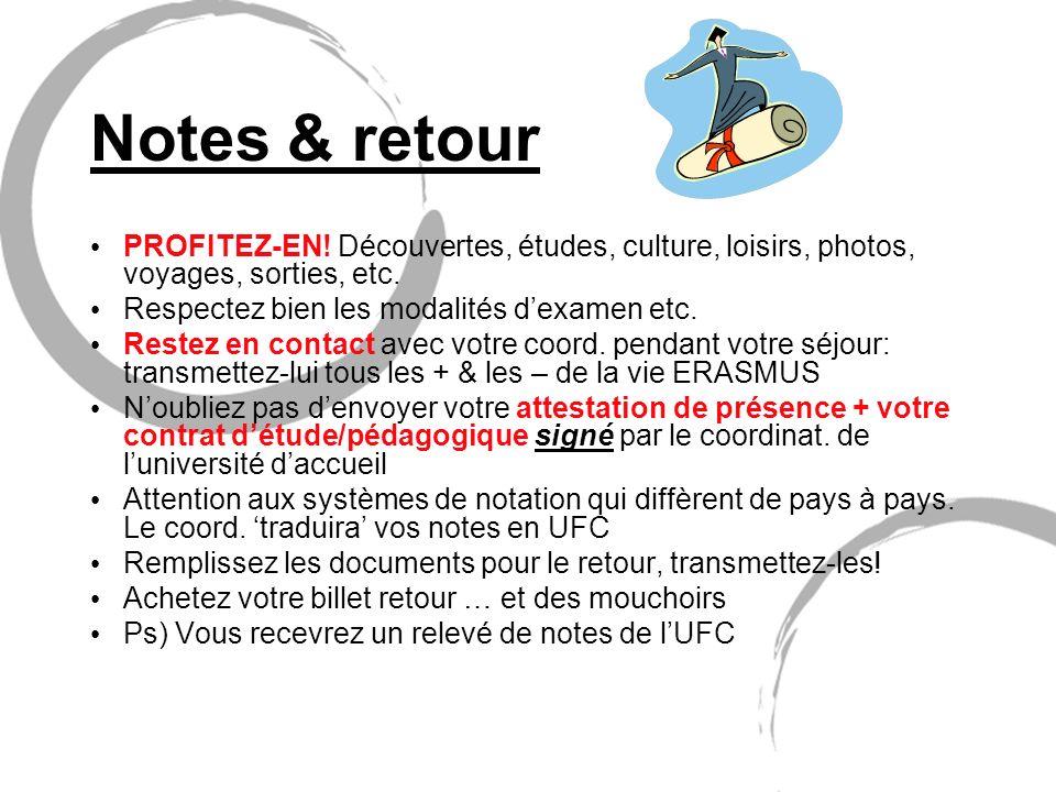 Notes & retour PROFITEZ-EN! Découvertes, études, culture, loisirs, photos, voyages, sorties, etc. Respectez bien les modalités dexamen etc. Restez en
