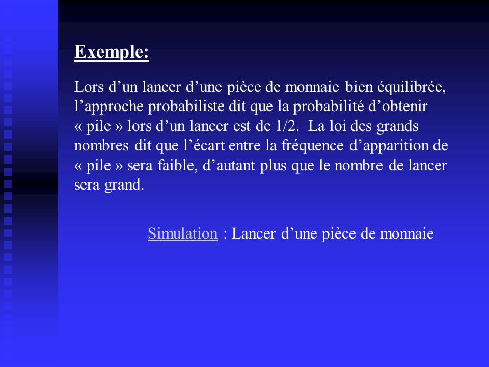 Lors dun lancer dune pièce de monnaie bien équilibrée, lapproche probabiliste dit que la probabilité dobtenir « pile » lors dun lancer est de 1/2. La