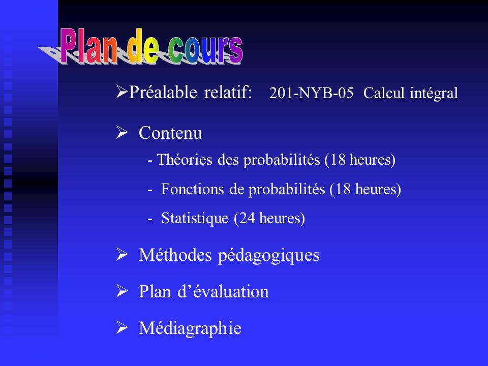 Contenu Méthodes pédagogiques Plan dévaluation - Théories des probabilités (18 heures) - Fonctions de probabilités (18 heures) - Statistique (24 heure
