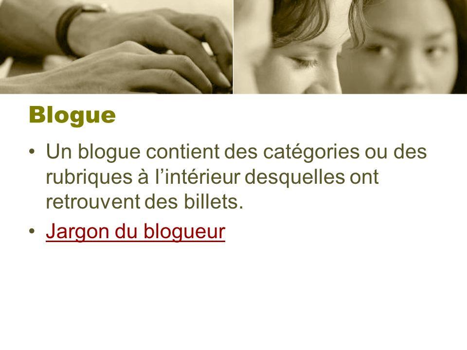 Blogue Un blogue contient des catégories ou des rubriques à lintérieur desquelles ont retrouvent des billets. Jargon du blogueur