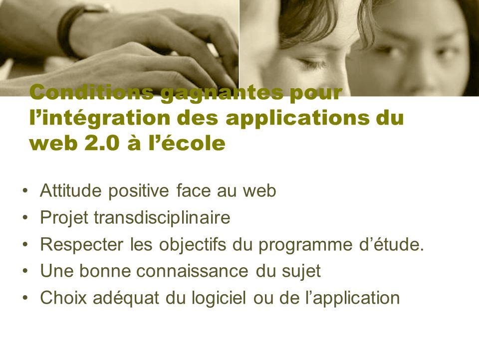 Conditions gagnantes pour lintégration des applications du web 2.0 à lécole Attitude positive face au web Projet transdisciplinaire Respecter les obje