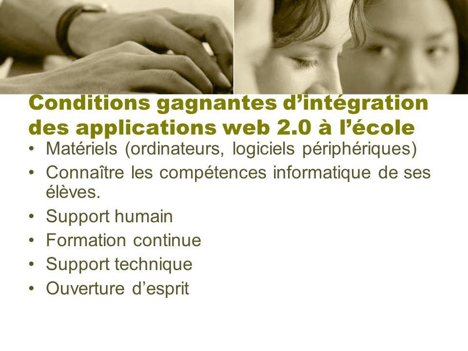Conditions gagnantes dintégration des applications web 2.0 à lécole Matériels (ordinateurs, logiciels périphériques) Connaître les compétences informa