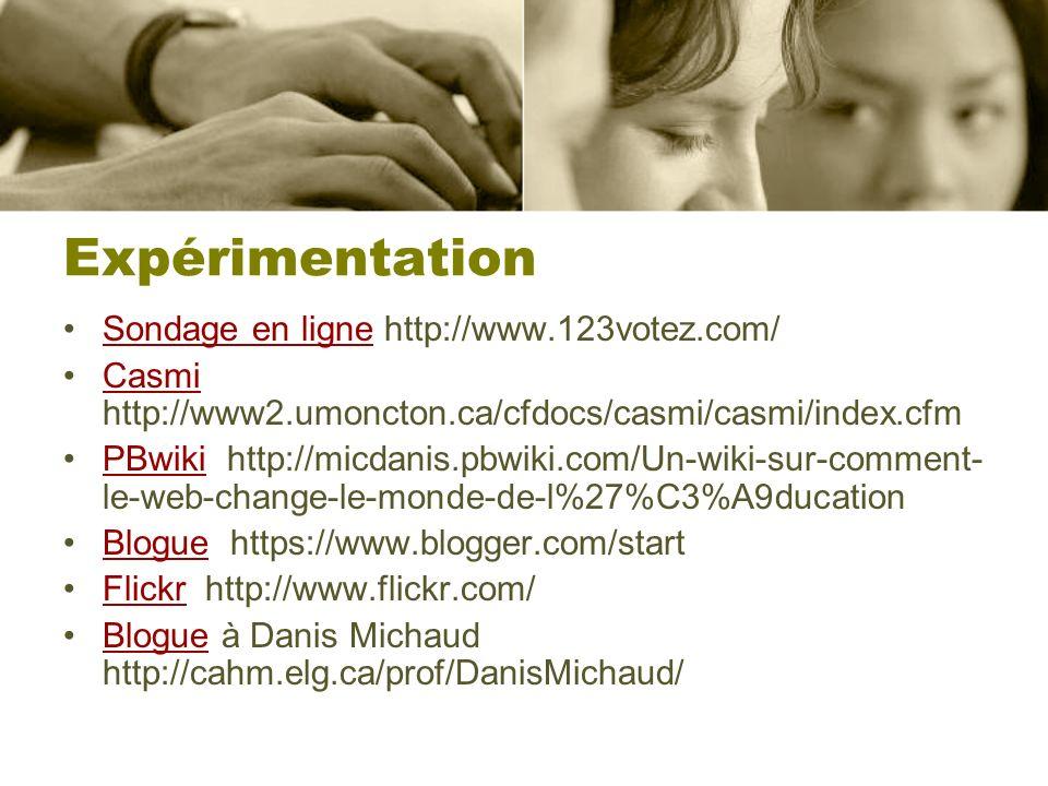 Expérimentation Sondage en ligne http://www.123votez.com/Sondage en ligne Casmi http://www2.umoncton.ca/cfdocs/casmi/casmi/index.cfmCasmi PBwiki http: