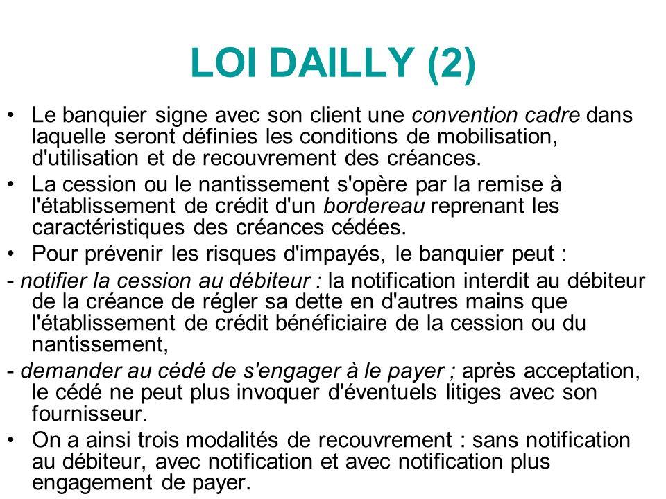 LOI DAILLY (2) Le banquier signe avec son client une convention cadre dans laquelle seront définies les conditions de mobilisation, d utilisation et de recouvrement des créances.