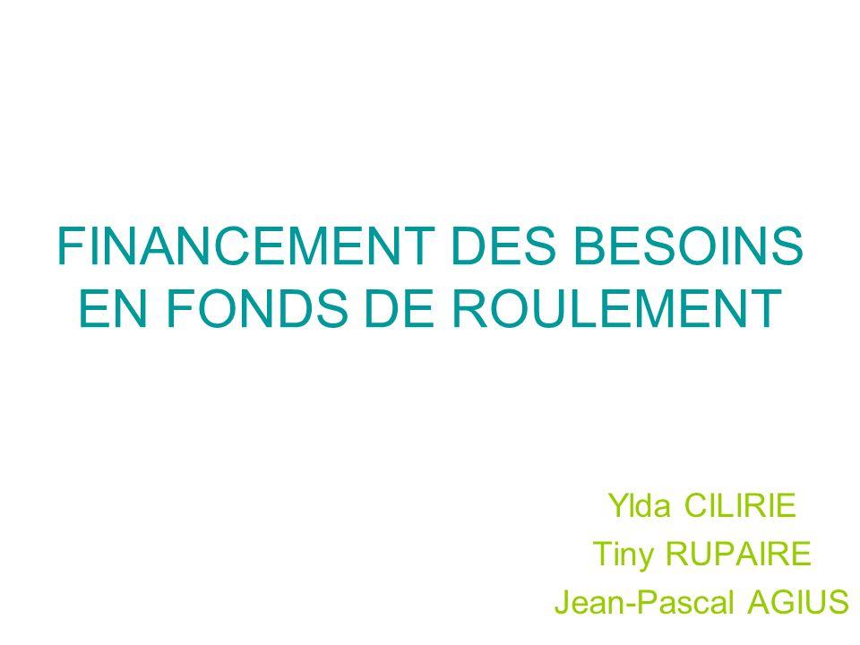 FINANCEMENT DES BESOINS EN FONDS DE ROULEMENT Ylda CILIRIE Tiny RUPAIRE Jean-Pascal AGIUS