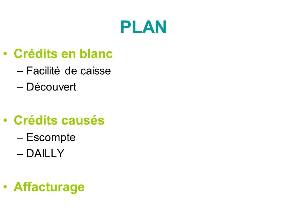 PLAN Crédits en blanc –Facilité de caisse –Découvert Crédits causés –Escompte –DAILLY Affacturage