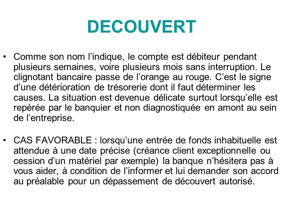 DECOUVERT Comme son nom lindique, le compte est débiteur pendant plusieurs semaines, voire plusieurs mois sans interruption.