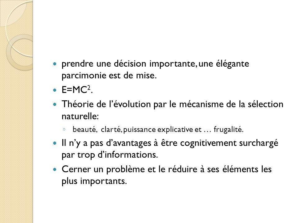 prendre une décision importante, une élégante parcimonie est de mise. E=MC 2. Théorie de lévolution par le mécanisme de la sélection naturelle: beauté