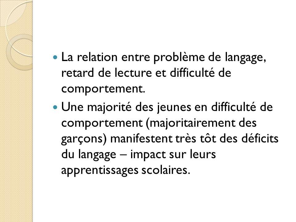 La relation entre problème de langage, retard de lecture et difficulté de comportement. Une majorité des jeunes en difficulté de comportement (majorit