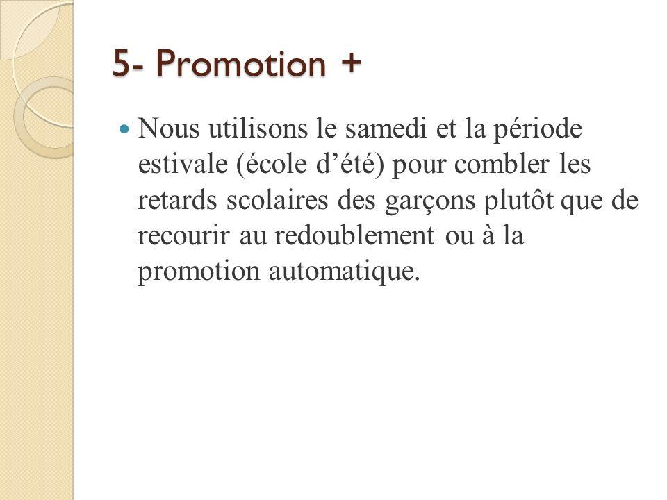 5- Promotion + Nous utilisons le samedi et la période estivale (école dété) pour combler les retards scolaires des garçons plutôt que de recourir au r