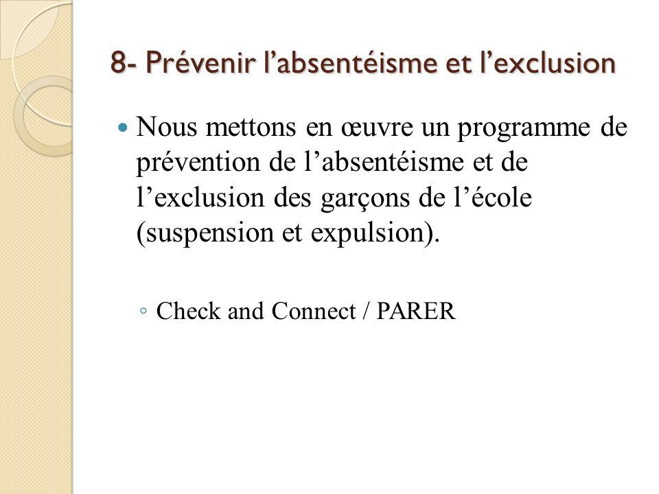 8- Prévenir labsentéisme et lexclusion Nous mettons en œuvre un programme de prévention de labsentéisme et de lexclusion des garçons de lécole (suspen
