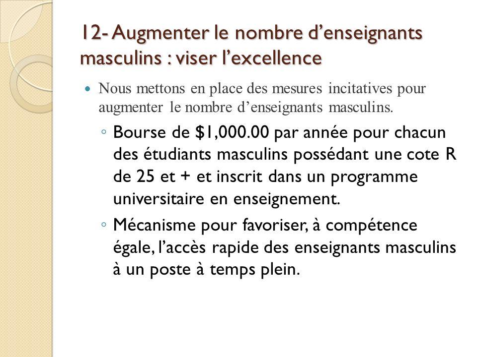 12- Augmenter le nombre denseignants masculins : viser lexcellence Nous mettons en place des mesures incitatives pour augmenter le nombre denseignants