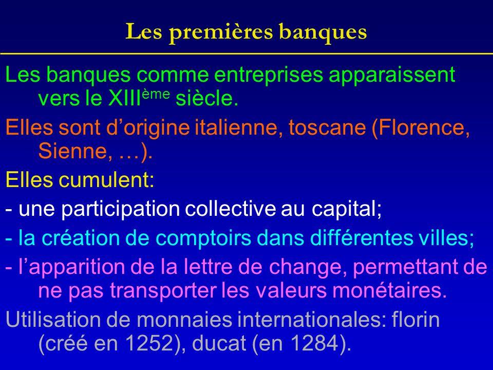 Les premières banques Les banques comme entreprises apparaissent vers le XIII ème siècle.
