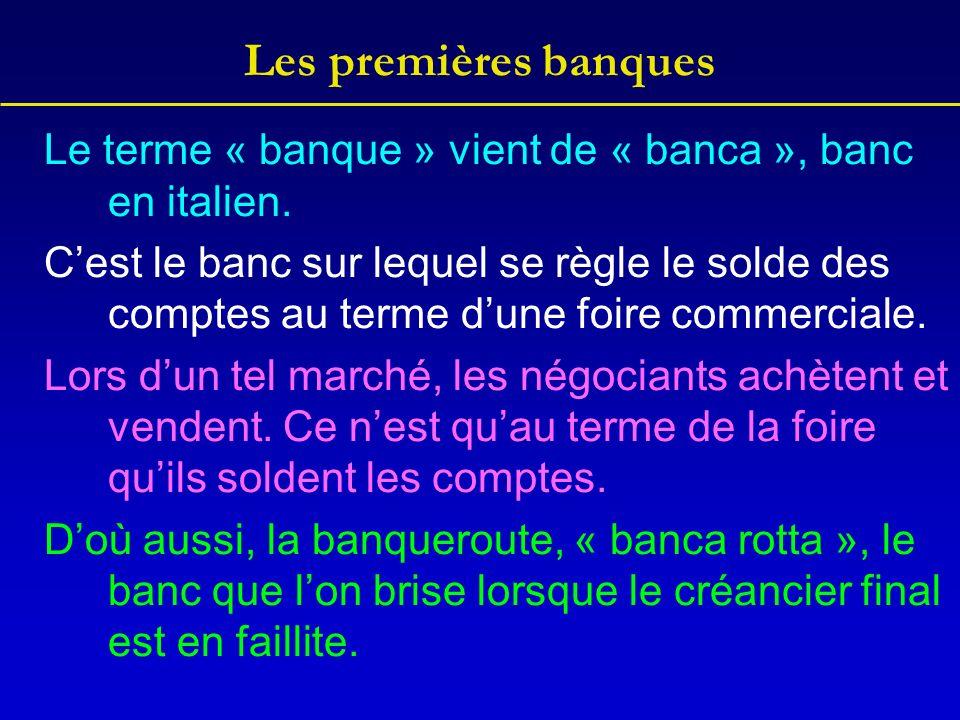 Les premières banques Le terme « banque » vient de « banca », banc en italien.