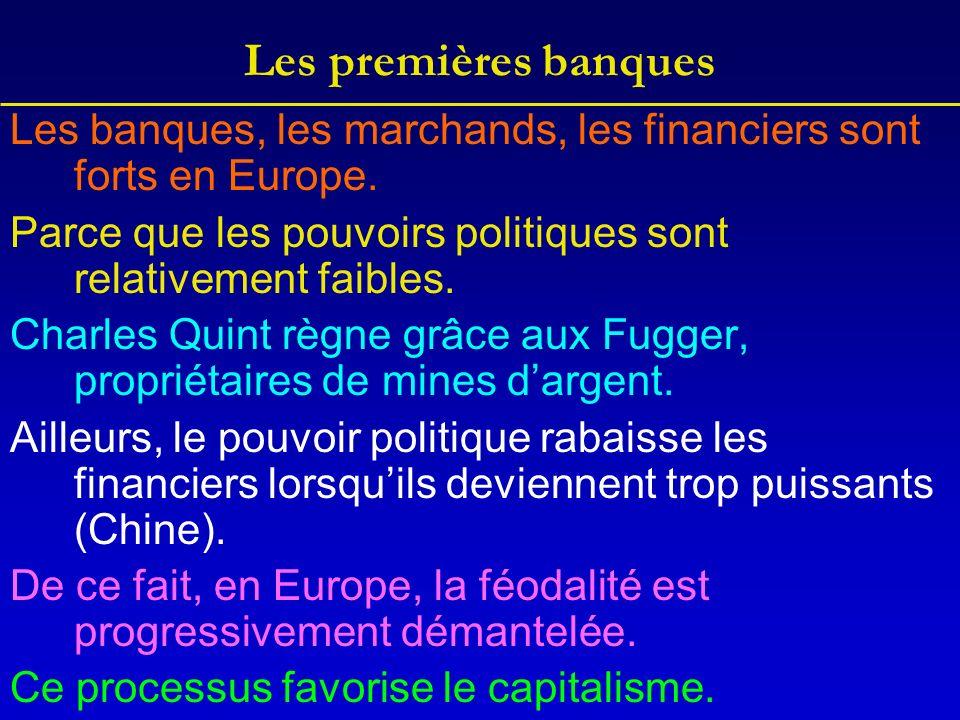 Les premières banques Les banques, les marchands, les financiers sont forts en Europe.
